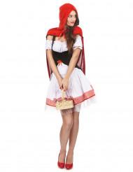 Sexy Rotkäppchen Damenkostüm schwarz-weiss-rot