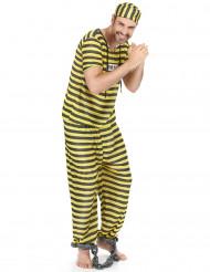 Sträfling-Gefangenen Kostüm für Erwachsene gelb-schwarz