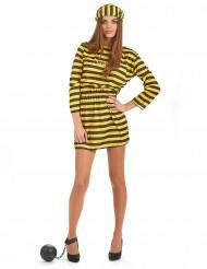 Gelbes Sträflings-Kostüm für Damen