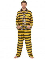 Gefangenen Kostüm für Erwachsene Sträfling gelb-schwarz