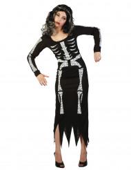Skelettkostüm für Damen schwarz-weiss