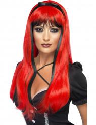 Rot-schwarze Perücke für Damen