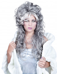 Langhaarperücke grau gewellt für Damen