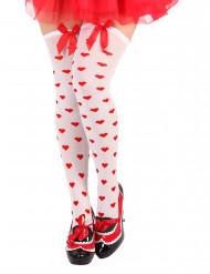 Weiße Damenstrümpfe mit roten Herzen