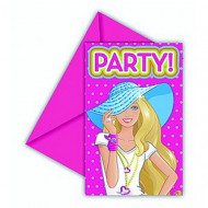 6 Einladungskarten Barbie Dollicious™