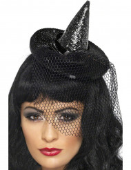 Schwarzer Mini Hexenhut für Damen