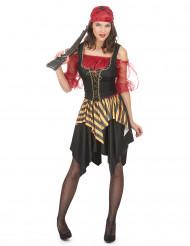 Freibeuter-Piraten Kostüm für Damen schwarz-gelb-rot