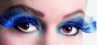 Lange, falsche Wimpern in Blau für Damen