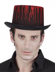 Blutbefleckter Vampir-Zylinder für Erwachsene schwarz-rot