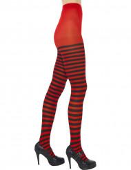 Schwarz-rot gestreifte Damen-Strumpfhose