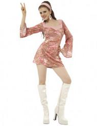 Sexy Hippie-Disco-Kostüm für Damen bunt