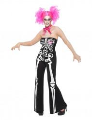 Skelett-Damenkostüm für Halloween schwarz-weiss-rosa