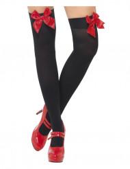 Schwarze Kniestrümpfe mit roten Schleifen für Erwachsene
