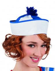 Matrosen-Hut Seefahrerin für Erwachsene weiss-blau