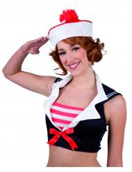 Matrosenhut für Damen Seefahrerin weiss-rot