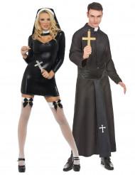 Nonne und Priester Paarkostüm für Erwachsene