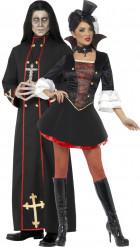 Vampir und Priester Paarkostüm für Erwachsene