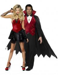Vampir-Paarkostüm Halloween-Verkleidung schwarz-rot