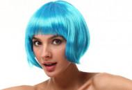 Blaue Kurzhaarperücke für Damen