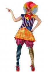 Tollpatschiges Clowns-Kostüm für Damen bunt