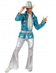 70er-Jahre Disco-Kostüm für Herren türkis-silber