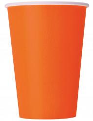 8 orangefarbene Becher