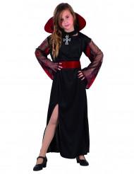 Vampirkostüm mit durchsichtigen Ärmeln für Mädchen schwarz-rot