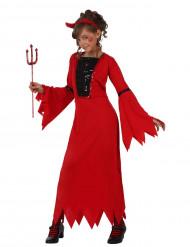 Teufelinnenkostüm mit Pailletten für Mädchen schwarz-rot