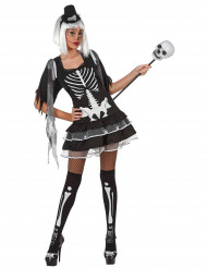 Sexy Skelett-Damenkostüm für Halloween schwarz-weiss