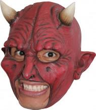 Teufel-Latex-Maske Halloween für Erwachsene rot-weiss-schwarz