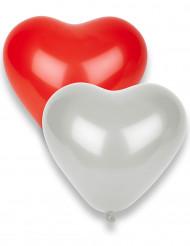 10 rote und weiße Herz-Luftballons