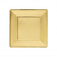 8 viereckige Teller aus vergoldeter Pappe