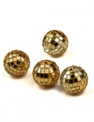 4 Goldene Mini-Kugeln aus Spiegelglas