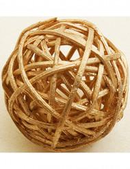 Weidenkugeln Tisch-Zubehör naturbelassene Tischdeko 6 Stück gold 3,5cm