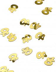 Vergoldetes Konfetti mit der Zahl 40
