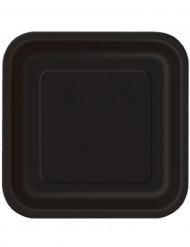 14 große schwarze viereckige Teller