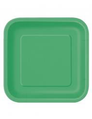 14 große smaragdgrüne Pappteller