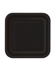 16 kleine Pappteller eckig - schwarz