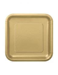 16 kleine goldene Pappteller