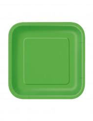 16 Pappteller - zitronengrün und 4-eckig