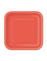 16 kleine rote Pappteller