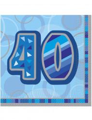 16 Servietten in blau für den 40. Geburtstag 33 x 33 cm