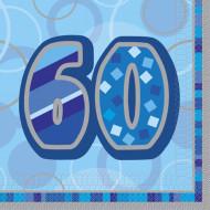 16 Servietten mit der Aufschrift 60 blau 33 x 33 cm