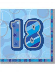 16 Papier Servietten 18 Jahre blau Geburtstagsparty