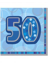 16 Servietten aus Papier 50 Jahre Blau 33 x 33 cm