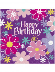 16 Papierservietten Happy Birthday Blumen