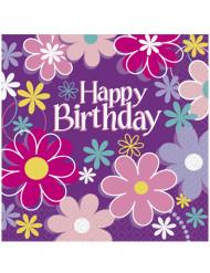 16 Papierservietten Happy Birthday Blumen