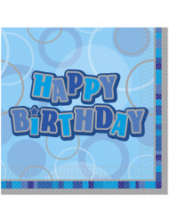 16 Happy Birthday Servietten blau