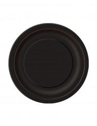 20 kleine Pappteller rund - schwarz