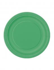 20 kleine smaragdgrüne Pappteller